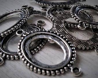 Lot Old Chain Links 2 Ring Connectors Vintage Die Stuck Custom Plated Brass Antique Genuine Sterling Silver Bead Edge Texturized O Ring 14E