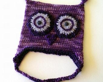 Crochet Owl Hat Purple Lavender Eyes Toddler Child Size Bird Cap
