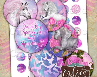 Unicorn Magic, Printable, Digital, Collage Sheet, 1inch Circles, Bottle Cap Images, Images for Jewelry, Unicorn Images, Printable Paper