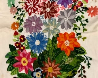 Vintage Hand Embroidered Wall Hanging, Table Topper, Table Runner Beautiful