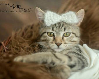 Sweet Angel - Mohair Bow for Pets and Babies - Knitted Mohair Bow