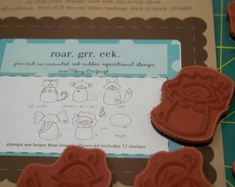 Unity Stamp Company rubber stamp set, Roar Grr Eek, animal rubber stamps, elephant rubber stamp, lion stamp, phrase stamp, baby stamps