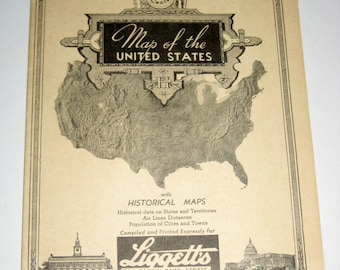 Vintage Map of the United States - Compiled for Liggett's Drug Store