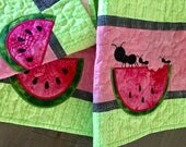 Quilted SUMMER Table Runner . . . WATERMELON and ANTS . . . Applique Design . . . Fun Colora of Lime Green, Raspberry Pink and Black