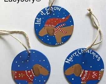 Dachshund Christmas Ornament/Wood Ornaments /Dachshund ornaments /set of 3 ornaments / ho ho ho/ Merry Christmas/ Ugly Christmas Sweaters