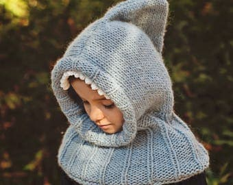 Knitting Pattern (pdf file) Instant Download - Shark Hooded Cowl