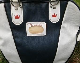 BRUNSWICK BOWLING BAG, Vintage Bowling Bag,Retro Handbag,Navy Blue n White Bowling Bag,Bowling,Carry Case,Sports Bag,2 Color Bowling Bag