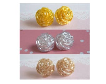 Rose Stud Earrings, Silk White, Beige, Yellow, Pick Your Color, Or Set Of Three 5 Dollars