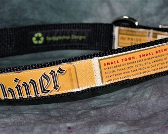 Adjustable Large Dog Collar from Recycled Shiner Bock Beer Labels