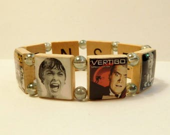 ALFRED HITCHCOCK Bracelet / Suspense - Thriller - Scary / Classic Movies / SCRABBLE Jewelry