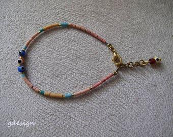 Afgani bead bracelet, Gold Plated, Kaballah Bracelet, 3 Evil Eye Bracelet, Good Luck Bracelet, Afgani bead bracelet, Charm Bracelet