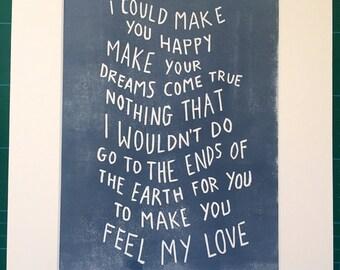 Adele/Bob Dylan 'feel my love' lyrics linocut