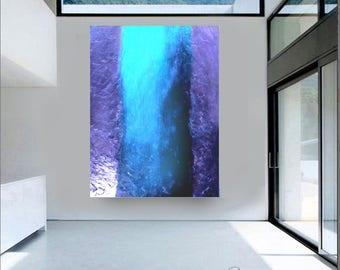 Modern ABSTRACT acrylic PAINTING palette knife aqua blue fine wall art original deep space designer artist Carol Lee aka Leearte