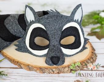 Rod  and Rhonda Raccoon Felt Mask and Tail pretend play costume