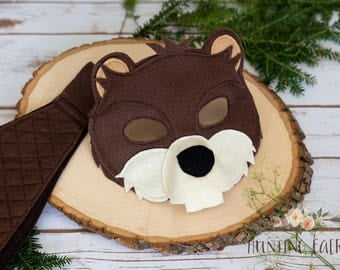 Bucky and Bev Beaver Felt Mask and Tail pretend play costume