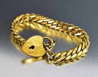 Antique Padlock Watch Chain Bracelet | Engraved Heart Padlock Bracelet Vintage Jewelry | Gold Filled Chain Edwardian Bracelet SOB Bigney