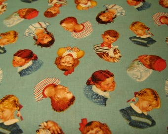 Fabric Norman Rockwell, Children, Quilting Treasures, Licenced, Quilting, clothing, Bags, Pillows, OOP, Saturday Evening Post