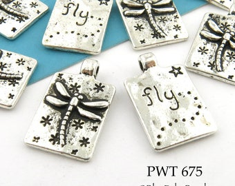 20mm Small Dragonfly Charm Pewter, Rectangle, Antiqued Silver, Word Charm (PWT 675) 8 pcs BlueEchoBeads