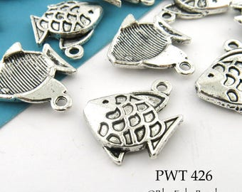 18mm Pewter Fish Charm (PWT 426) 8 pcs BlueEchoBeads