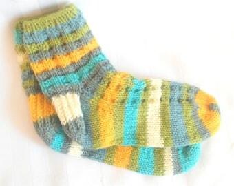 Ready to Ship. Womens Casual Socks. Aqua. Grass Green. Buttercup Yellow. Cream. Gray. Knit Socks. Slipper Socks. Bed Socks. Gifts for Her.