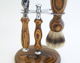 Bocote Wood 24mm Super Silvertip Shaving Brush and Fusion Flexball Razor Gift Set (Handmade in USA)  B5  Anniversary Gift - Men's Gift