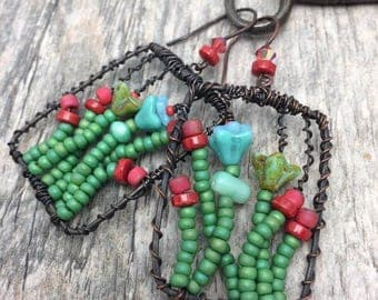 Forever Garden Window Dangle Earrings with Czech Glass,Coral, Copper, Wire Wrapped, FREE Shipping,Ready to Ship, Turquoise, Green,Red