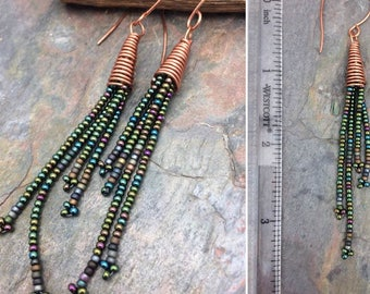 Peacock Mix Long Seed Bead Earrings by Marta Weaver Jewelry, Ready to Ship, Free USA Shipping