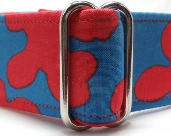 Blue and Reddish Orange Squiggles Greyhound, Whippet, Dog, Pit Bull, Doberman, Galgo Martingale Collar