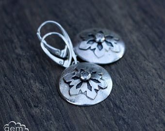 Sterling silver and snowflake earrings with white topaz centres - Whispers of Winter  -