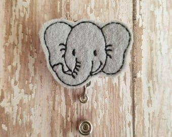 Elephant Badge Reel, Elephant Id Holder, Elephant Badge Clip,  Felt Badge Reel, Retractable Badge Reel, Doctors, Nurse, Teachers