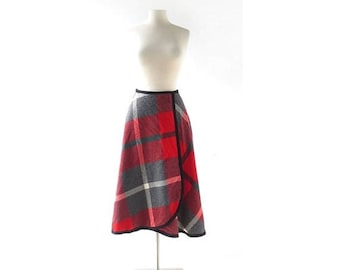 20% off sale 1950s Pendleton Skirt | Red Plaid Skirt | Wrap Skirt | 25W XS