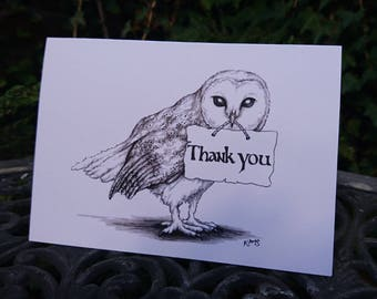 Barn Owl Thank You Card - owl art, owl card, woodland bird, British wildlife, thanks, thankyou card, black and white, post owl, realistic