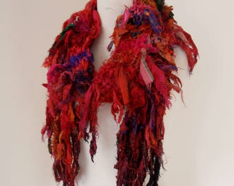 recycled silk scarf, hand knitted scarf, boho, tattered scarf in reds