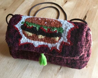 Baby Burger Pop Art Handmade Bag