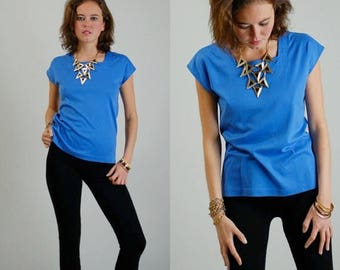 SALE 25% off sundays 90s Knit Top Vintage 90s Blue Boxy Fit Urban Hip Hop Knit Top (s m)