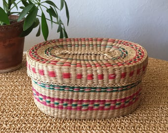 Green and Red Basket with Lid