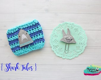 Shark Week paper clip or cup cozy { Shark Tales } blue, aqua stripe beach surf, summer great white coffee cozy, crochet bookmark bible band