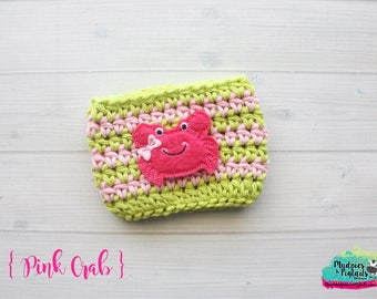 Beach Coffee Cozy { Pink Crab } lime, hot pink beach accessories summer, cup cozie, tea sleeve, mug starbucks, water bottle, crochet