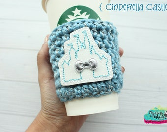 Princess Crochet Coffee Cozy { Cinderella Castle } Make it Pink, Make It Blue, silver Inspired, coffee sleeve, mug starbucks water bottle
