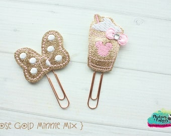 Planner Clip Set { Rose Gold Mouse } minnie, Paper Clips, Stationary, spring, lavender and pink Birthday party favors, kikkik, happy planner