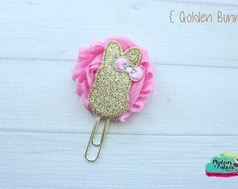 Planner Clip { Golden Bunny } gold pink, easter spring shabby paper clips stationary, black white birthday, Planner Supplies, gift, party