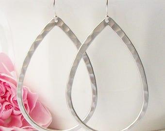 Hammered Silver Hoop Earrings, Silver Hoops, Medium Teardrop Hoop Earrings