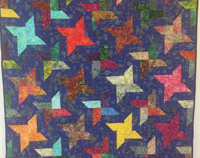 Stars Over My Ancestral Home 44x56 inch art quilt