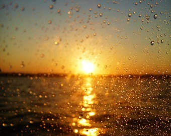 Sunset on Lake Water Drops Color Photo Nature FREE US SHIPPING