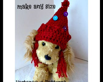 CROCHET PATTERN, dog pixie hat, make any size, small, medium, large, xlarge, #2060, Pet accessories, Christmas hat, halloween hat