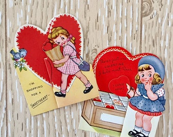 Darling Set of Two Vintage 1950s Valentine Cards of Shopping Girls, Bird, Dog, Puppy, Fold-out Cards