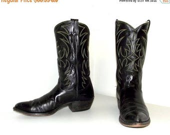 Vintage Rockabilly Western Black leather Nocona cowboy boots size 11 B