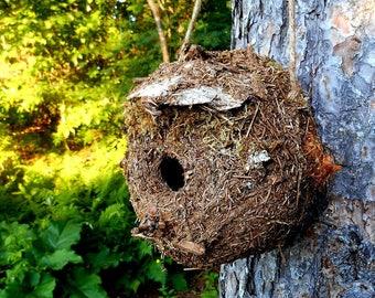 Rustic Birdhouse with Forest Finds, Outdoor Garden Art Bird House, Original woodland birdhouse by Bearpaw Rustics
