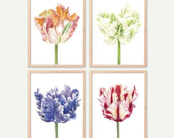 Tulips Art PRINTABLE FILE poster - flower artwork, flower art print, tulip print watercolor, tulip flower, wall art,  wall art printable