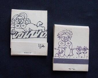 Adult Novelty (2) MATCH BOOKS Original ART Signed Hand Drawn Black Ink Vintage Naughty Spicy (MR5)